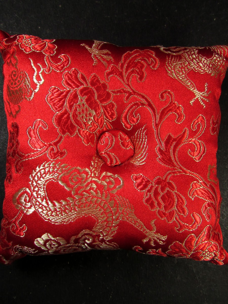 "3.5"" brocade square singing bowl cushion - SBC262"