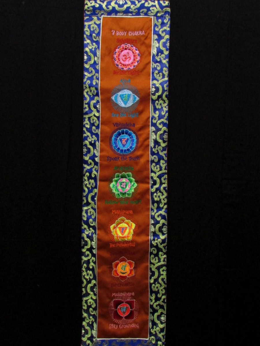 7 Chakras Embroidered Thanka - Th189