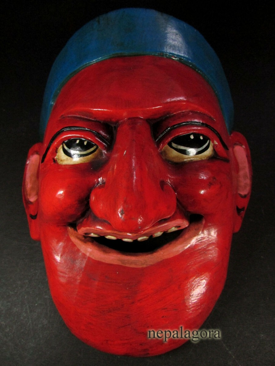 Asian Face Carved Wooden Joker Mask - M107