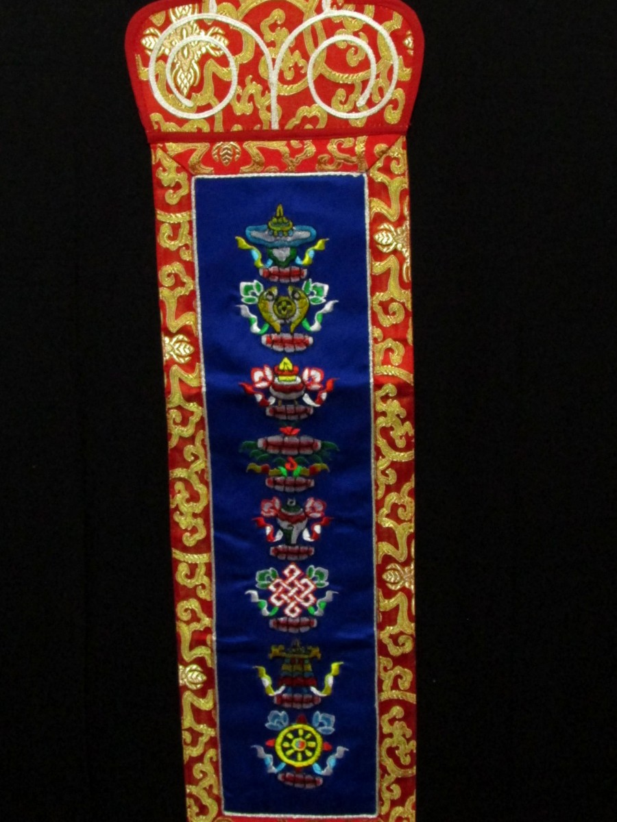 Astamangala Wall Hanging 8 Auspicious sign Embroidery Thanka Thangka Nepal - Th199