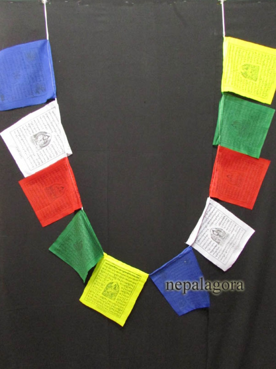 Block stamp Cotton prayer flags Nepal - PF94