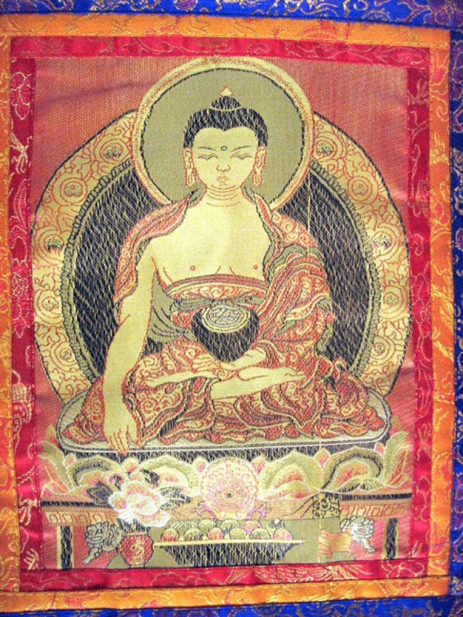 Buddha Embroidered Silk Thanka - Th01