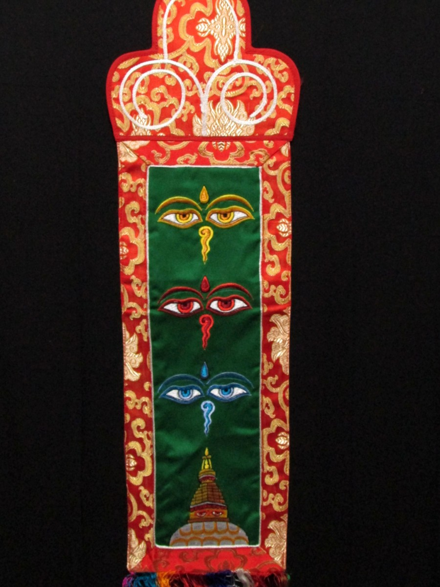 Buddha Eye Embroidery Wall Hanging Home Decor Brocade Thangka Thanka Nepal - Th218