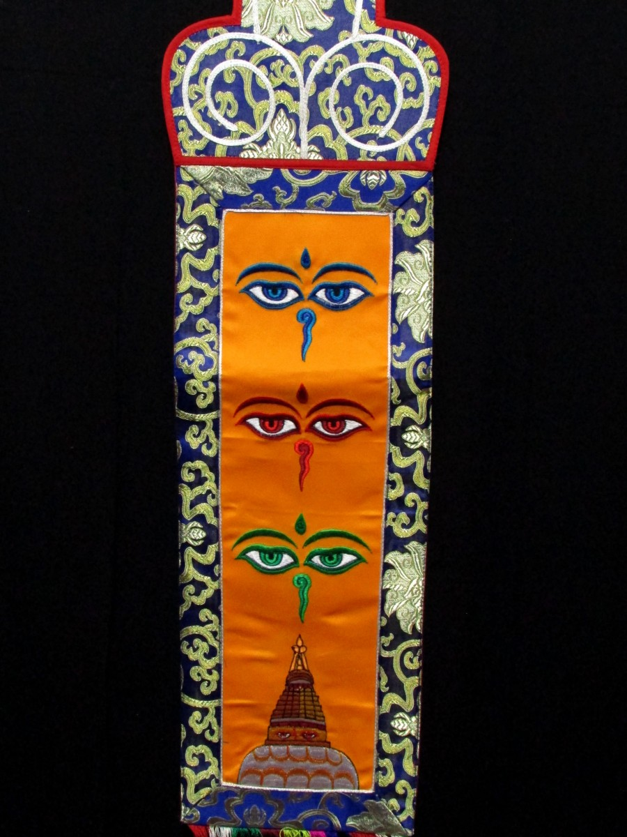 Buddha Eye Embroidery Wall Hanging Home Decor Brocade Thangka Thanka Nepal - Th220