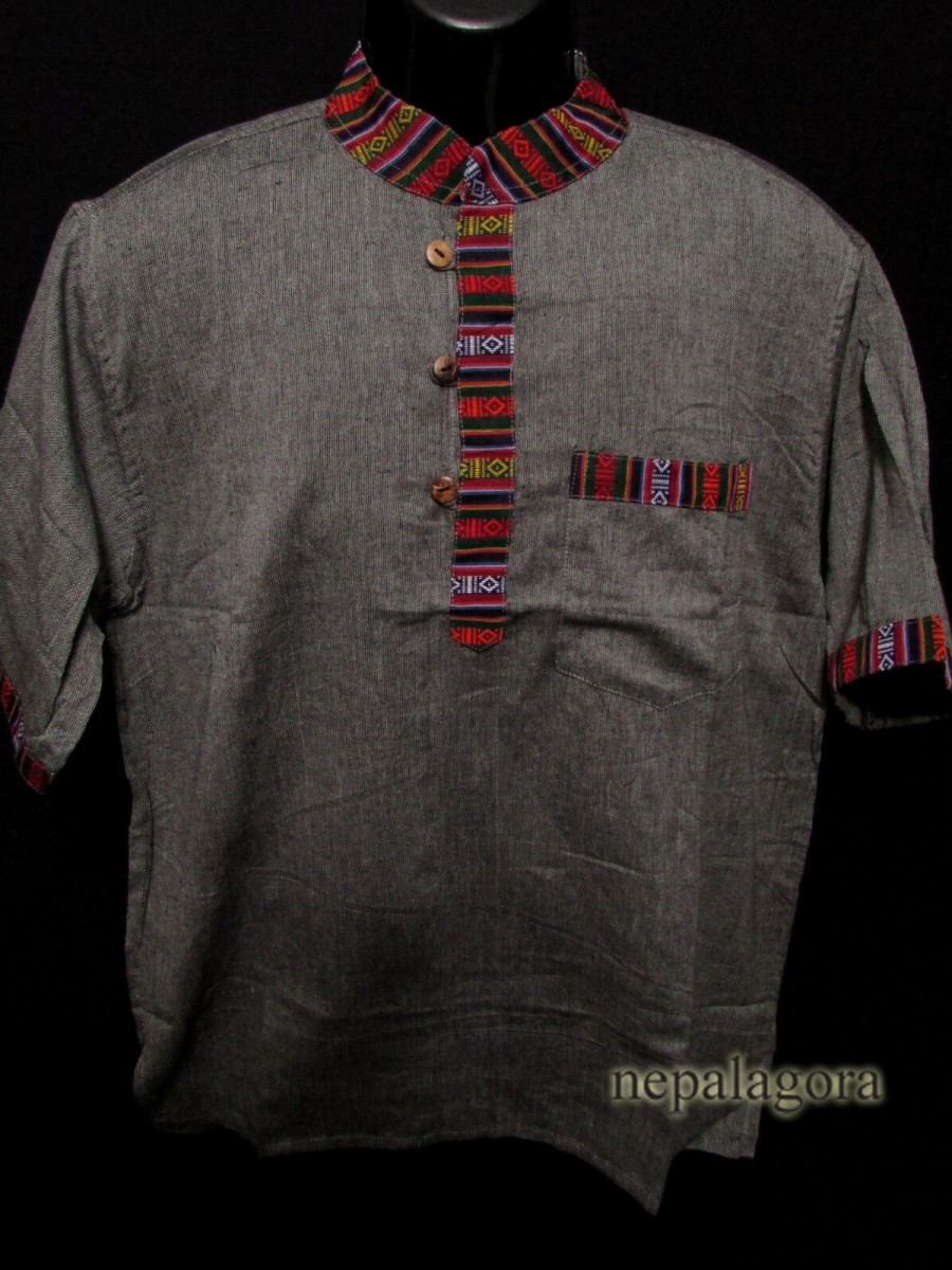 Cotton  Meditation Gray Shirt - Sh990 L