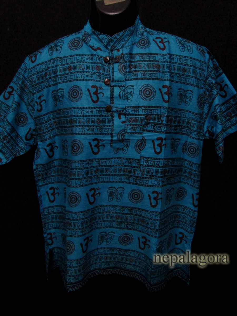 Cotton Om Mantra Blue Kurta Shirt - Sh995 M