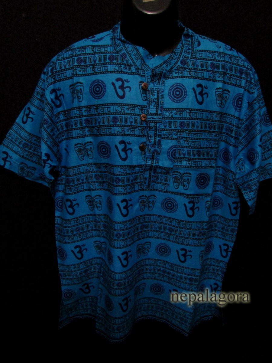 Cotton Om Mantra Blue Shirt - Sh1001 XL