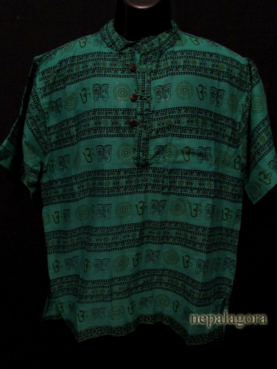 Cotton Om Mantra Green Shirt - Sh1000 L