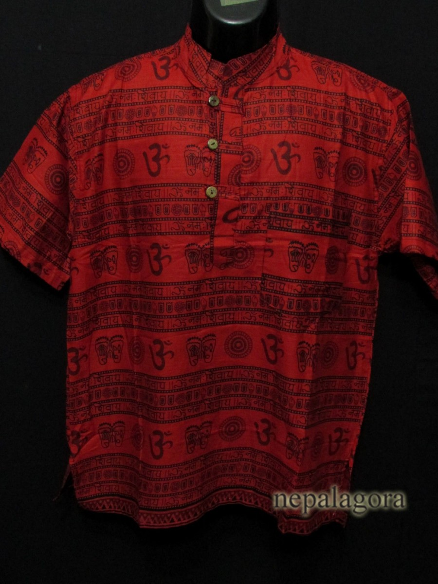 Cotton Om Mantra Hippie Red Shirt - Sh994 M