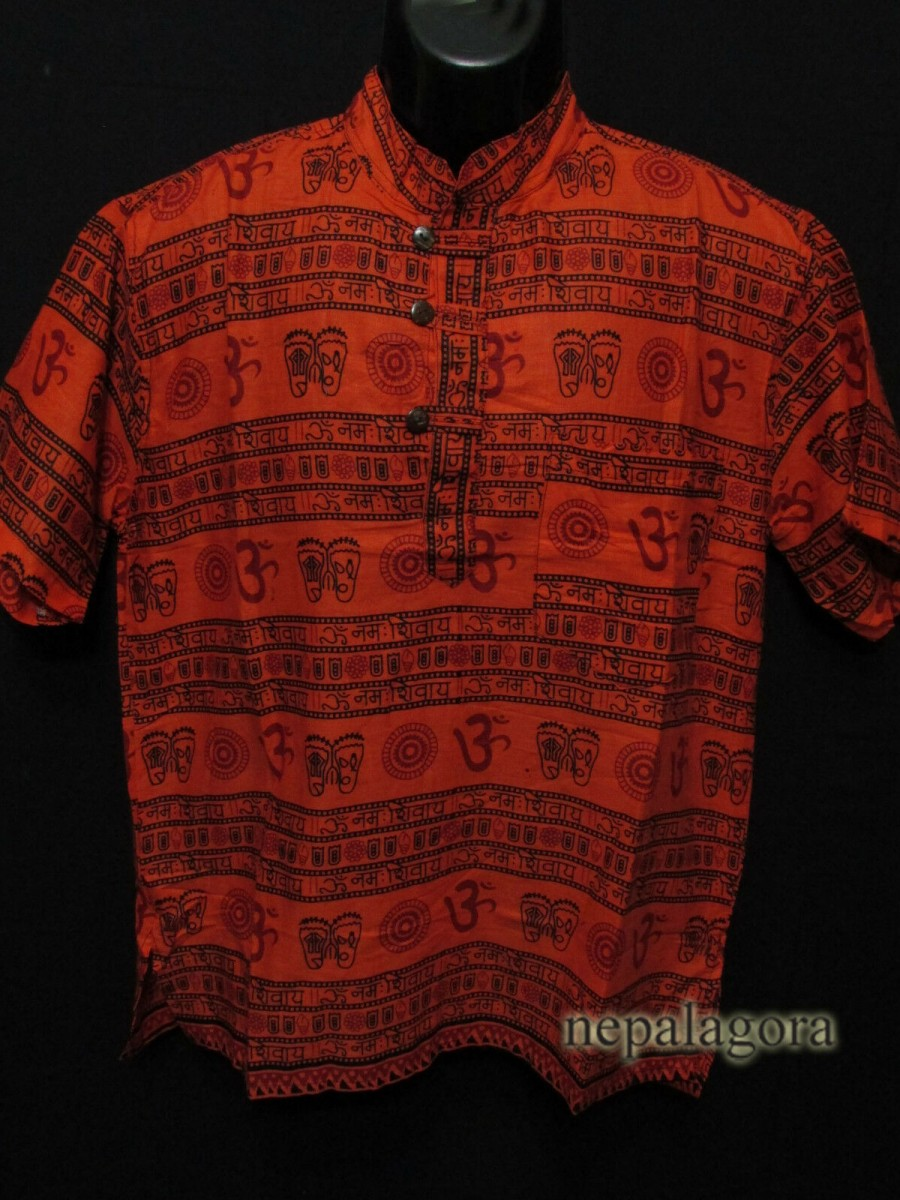 Cotton Om Mantra Orange Shirt - Sh998 M