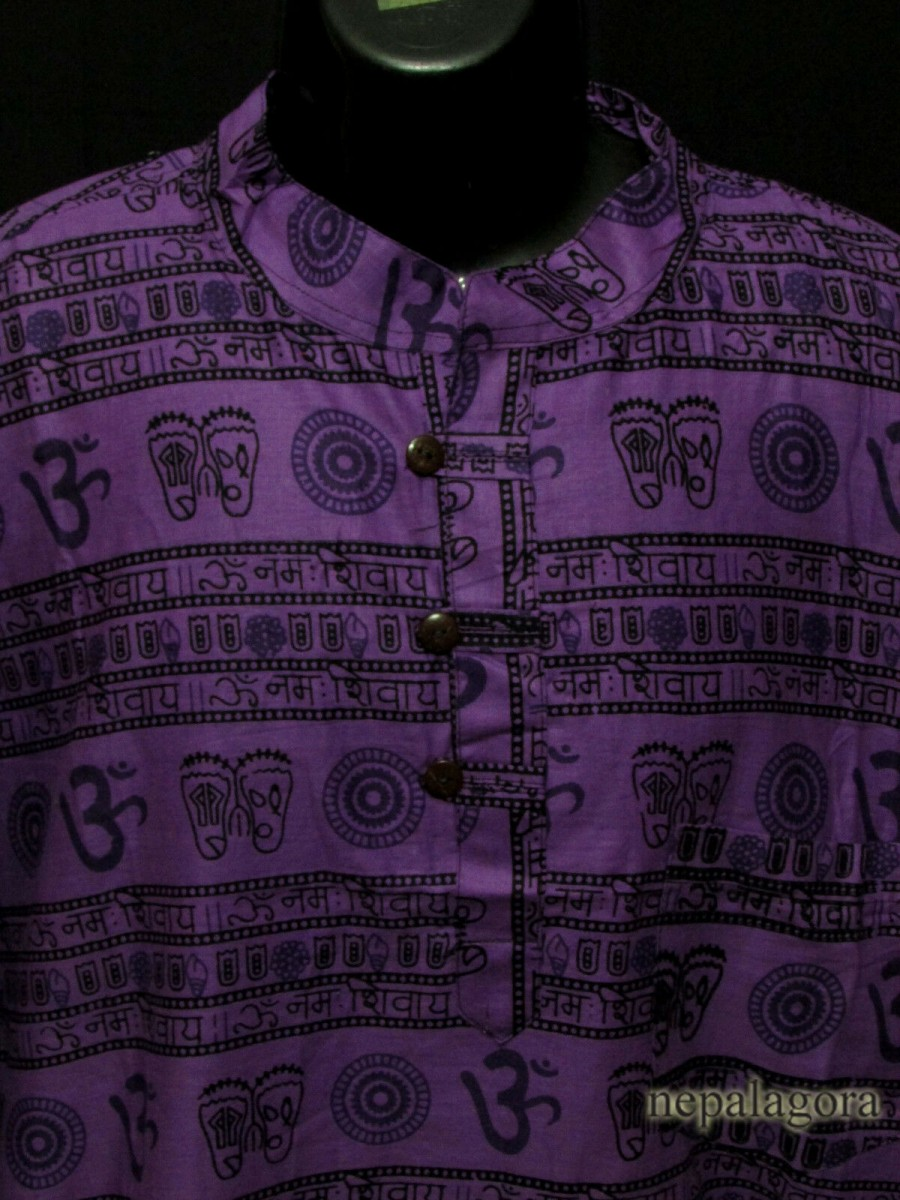 Cotton Om Mantra Purple Shirt - Sh997 XXL