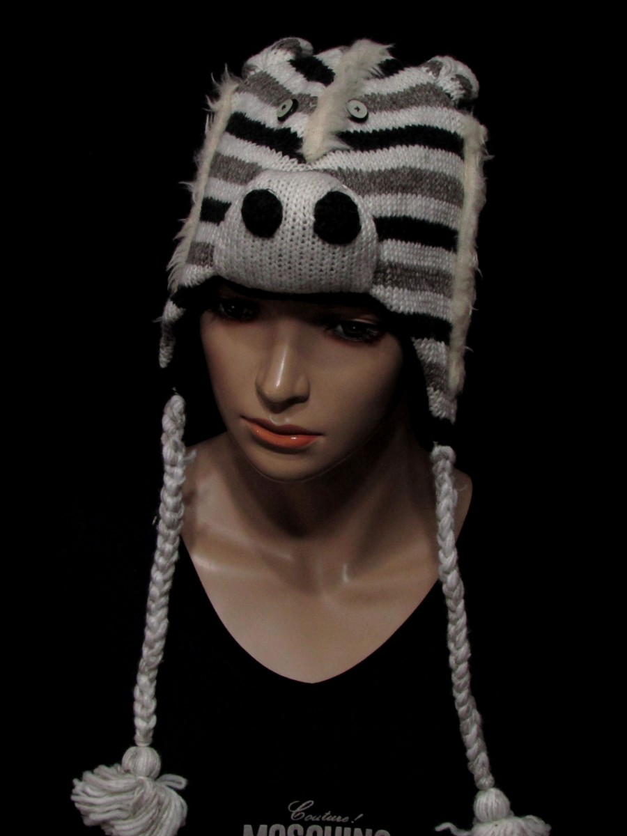 Crazy Animal Ear Flap Fleece Wool knit Cap - C406