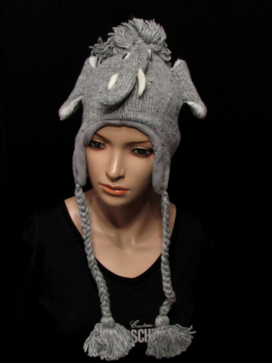 Crazy animal ear flap wool Knit hat Cap - C351