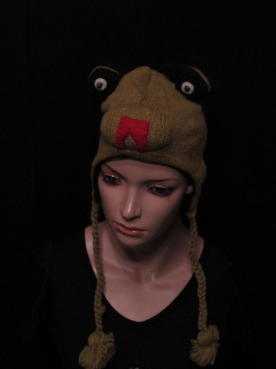 Crazy animal ear flap wool Knit hat Cap - C401