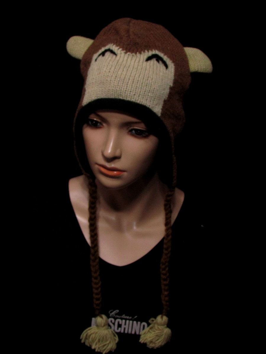 Crazy animal ear flap wool Knitted hat Cap - C402