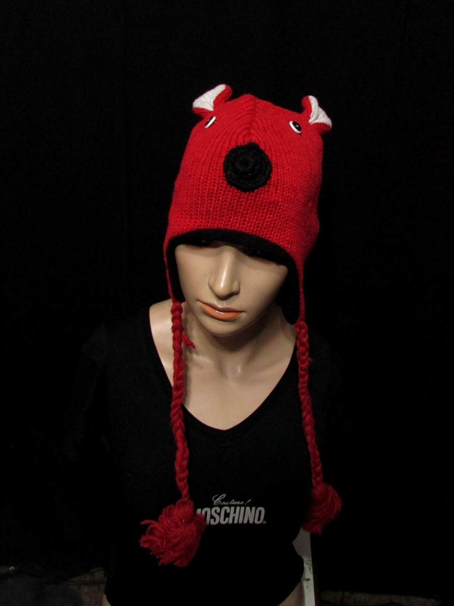 Crazy animal ear flap wool knitted hat Cap - C407