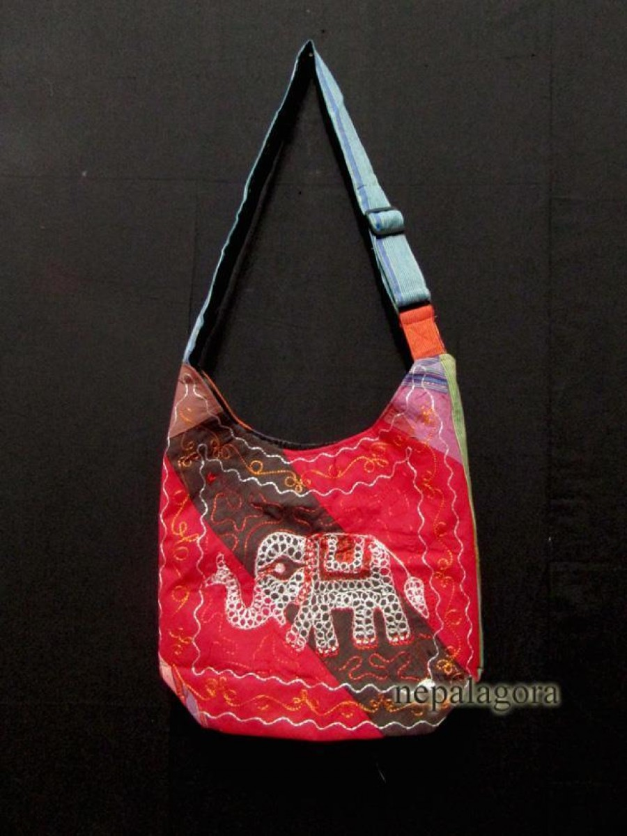 Elephant cotton strap cross body Bag Nepal - Bag41