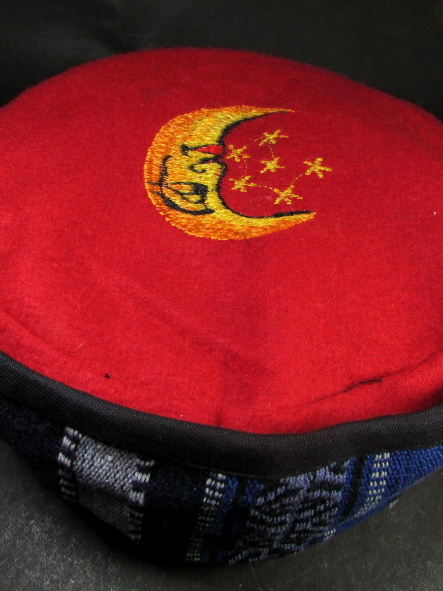 Embroidered Red Tibetan cap HAT Nepal - C896