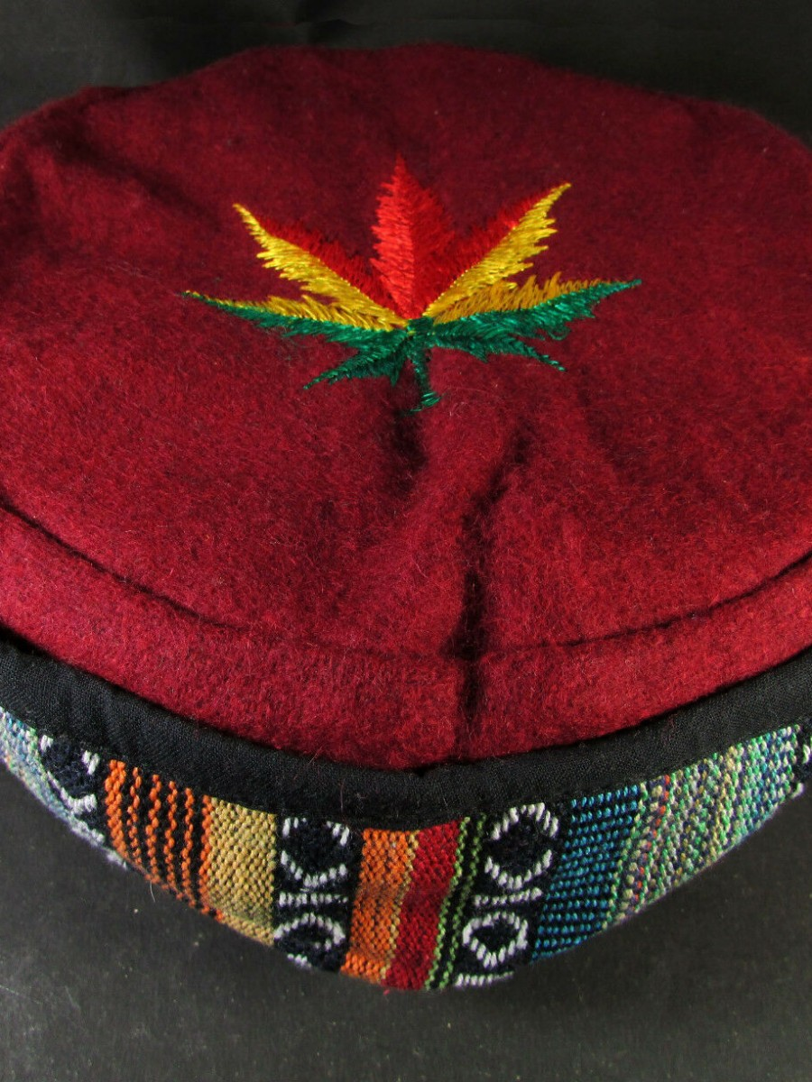 Ethnic Hemp Leaf Embroidery Cap - C974