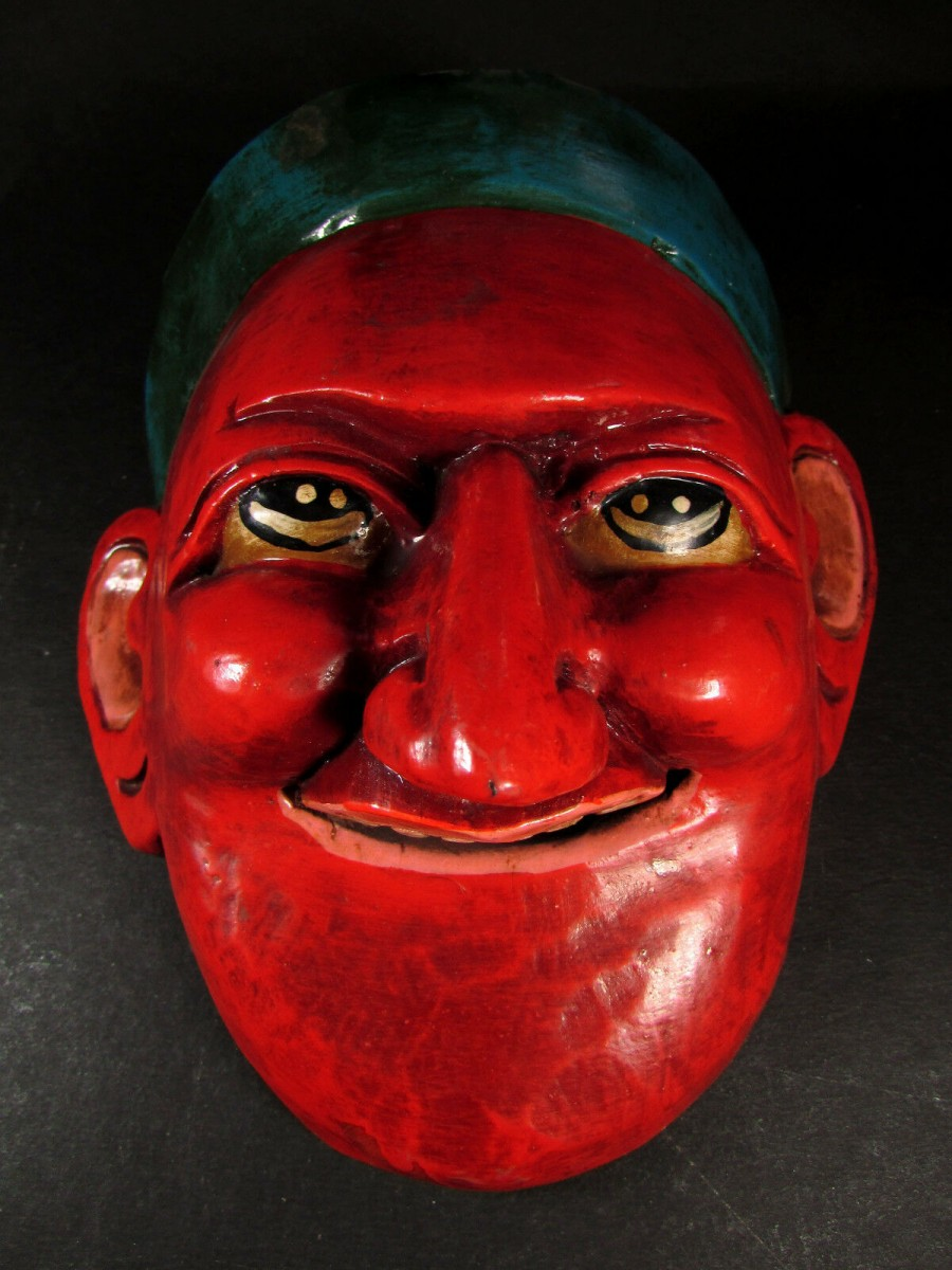 Face Carved Wooden Joker Mask - M147