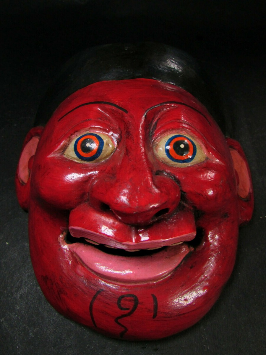 Face Carved Wooden Joker Mask - M442