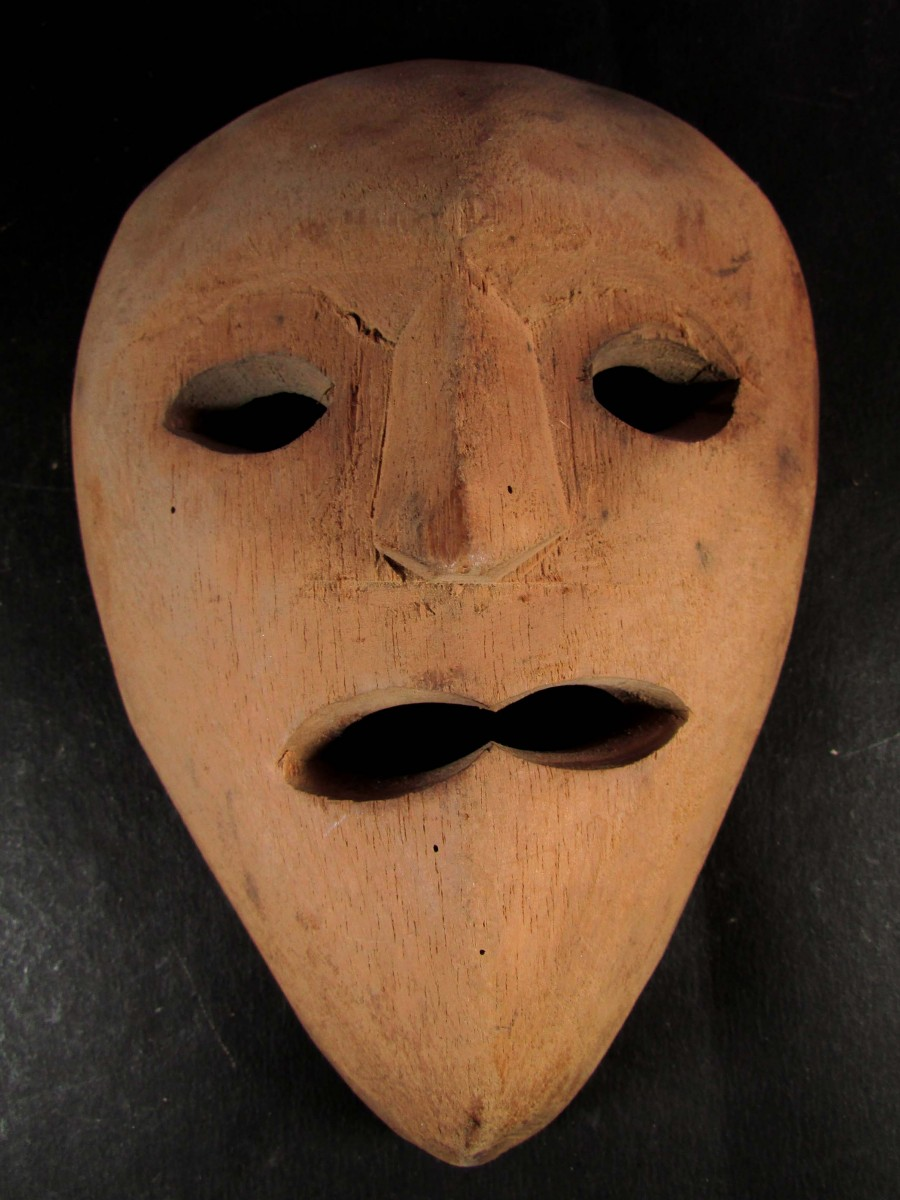 Face Craft Natural Wooden Mask Hanging - M313