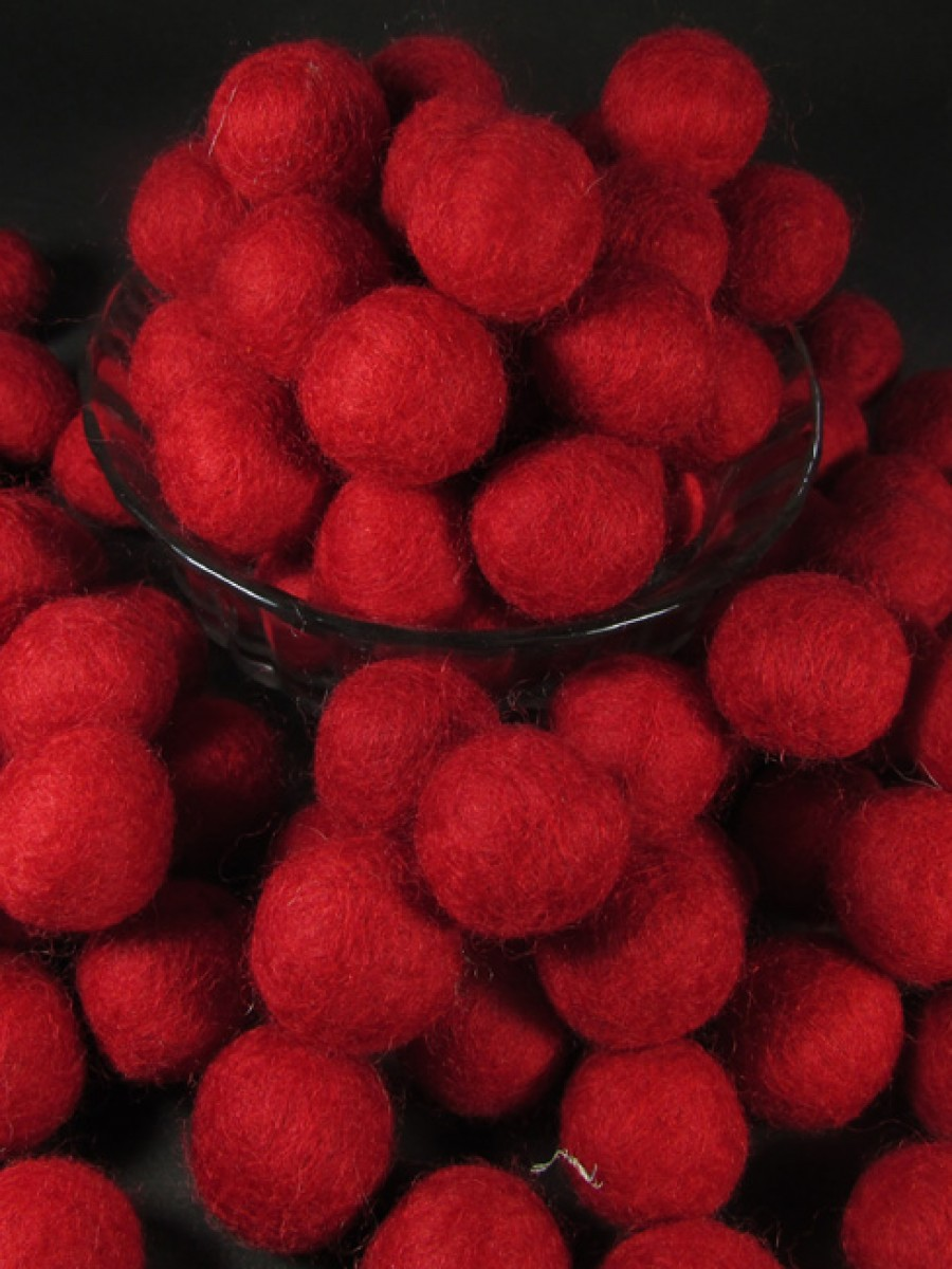 Felt ball 2cm Red bead DIY craft Decor Nepal - F76