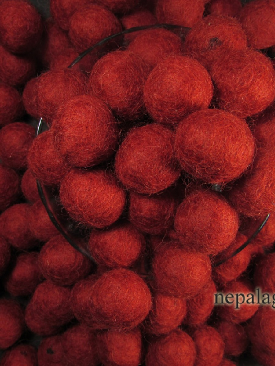 Felt ball 2cm Ruby Red bead Nursery Nepal - F77