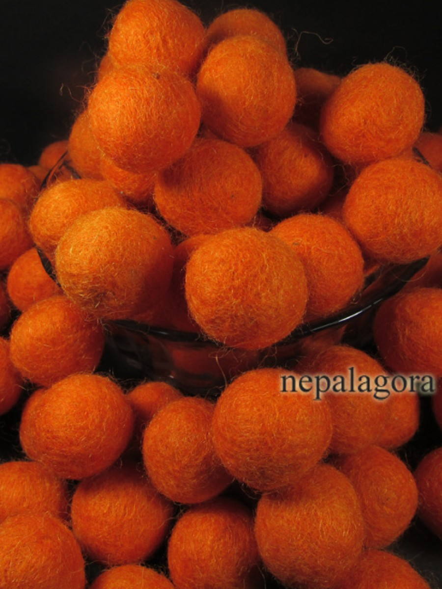 Felt ball 2cm wool Orange color craft Nepal - F93