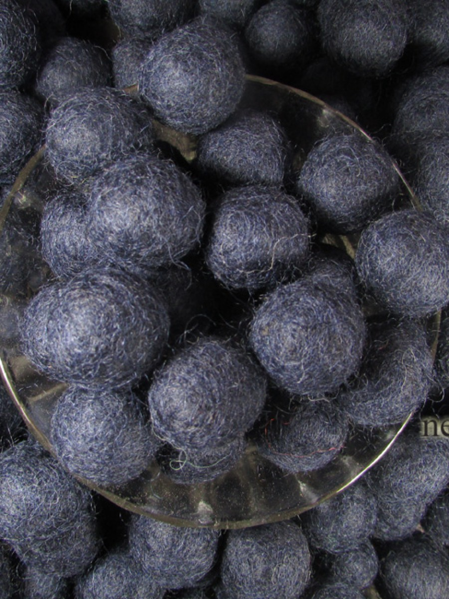 Felt ball wool 2cm/20mm pom pom Navy Blue Kids Nursery bead DIY craft Nepal - F105