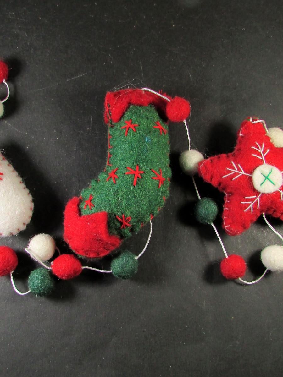Felt Christmas wall door hanging string - F150