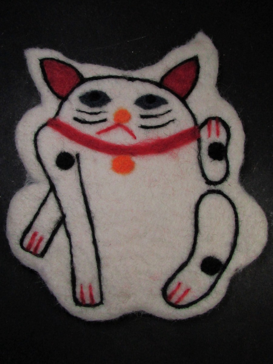 Felt wool Cat Table coaster pot pad bowl mat - F161
