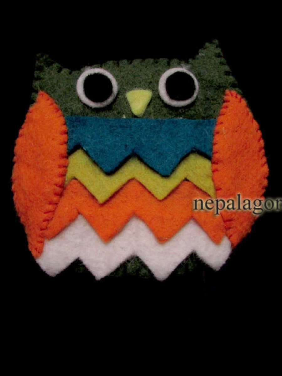 Felt Wool Owl Ladies Wallet Coin Purse - F8