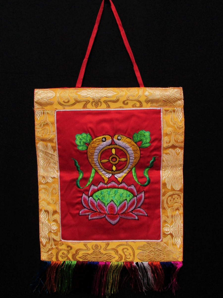 Fish Embroidered Wall Hanging Thanka - Th165