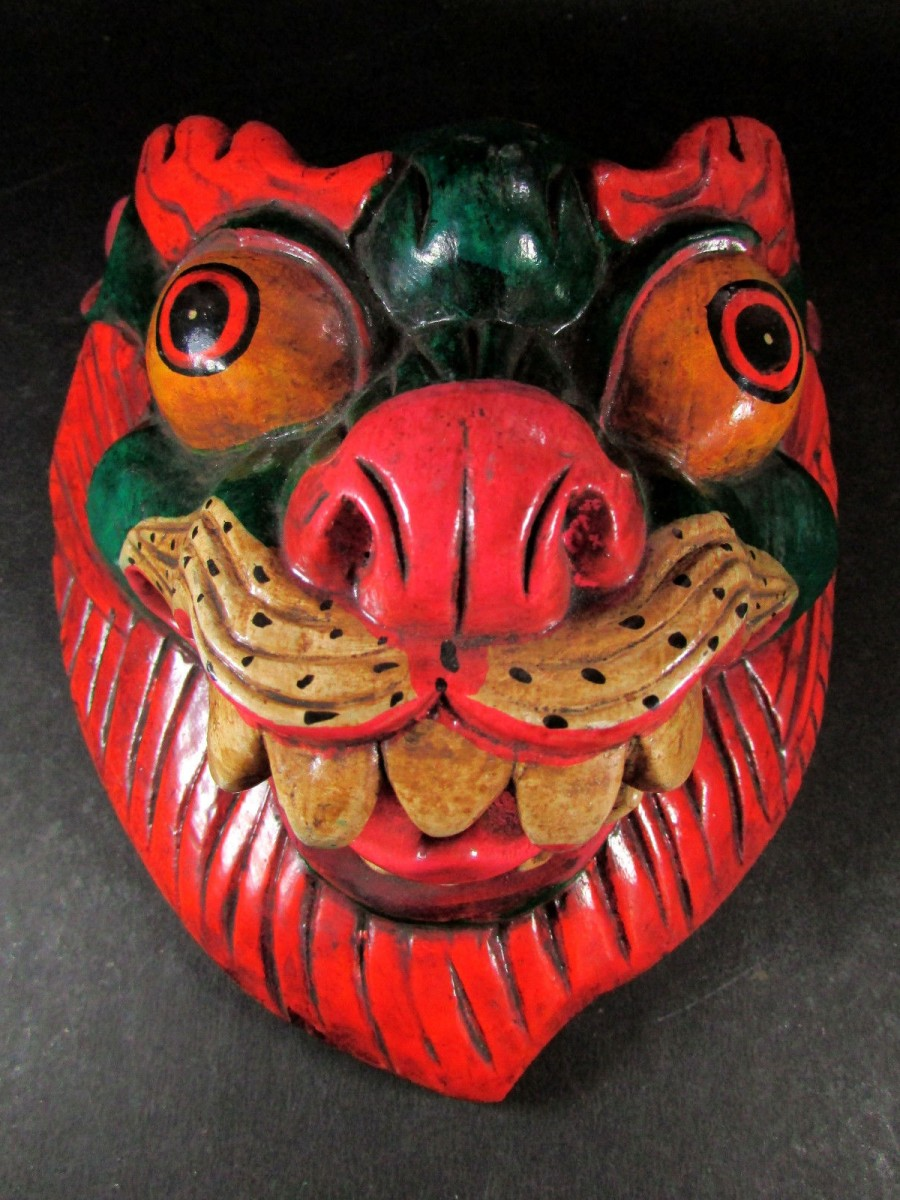 Hand Crafted Wooden Lion Mask - M260