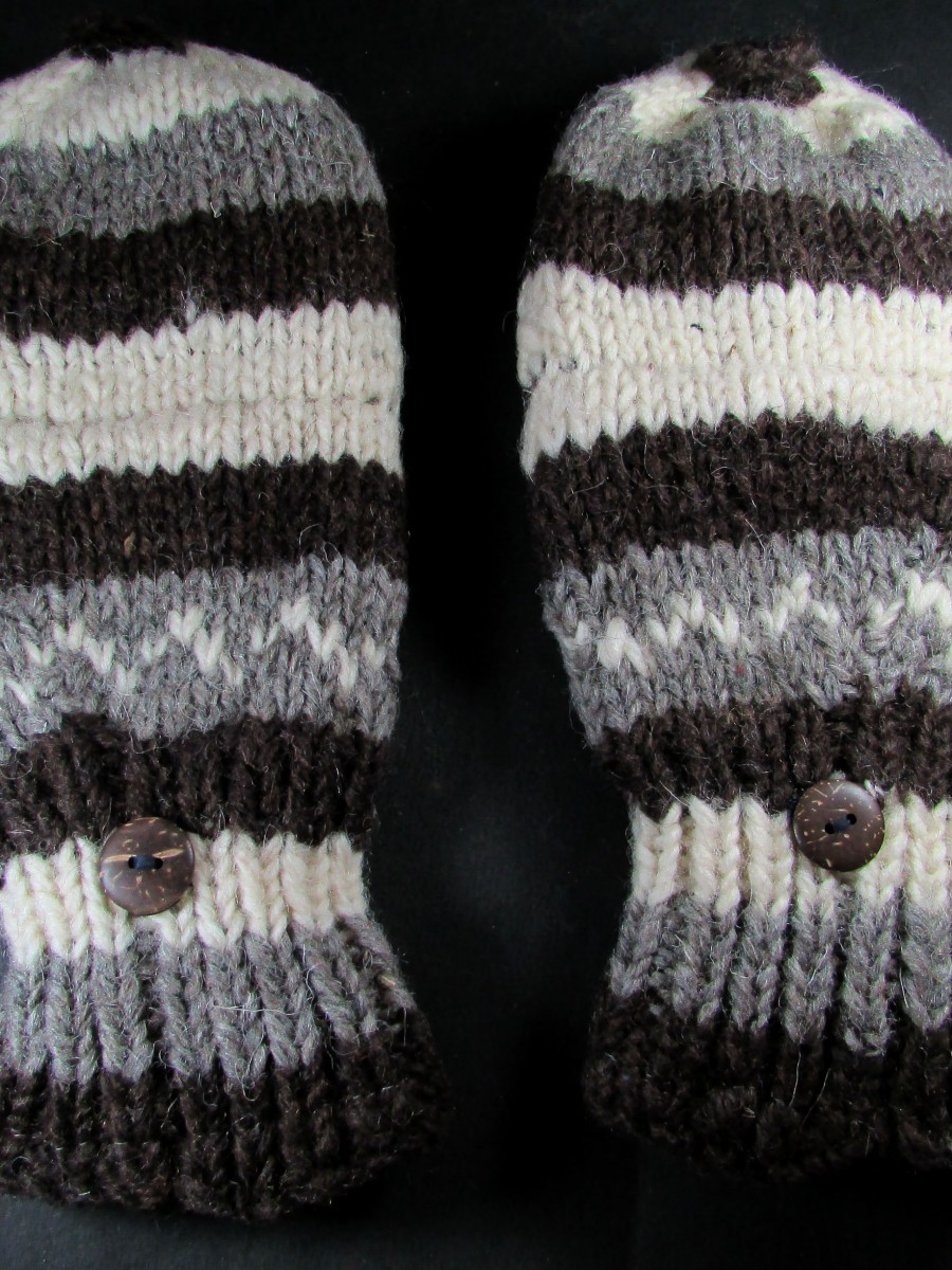 Hand knit Wool Unisex Fleece Ski GLOVES - G59