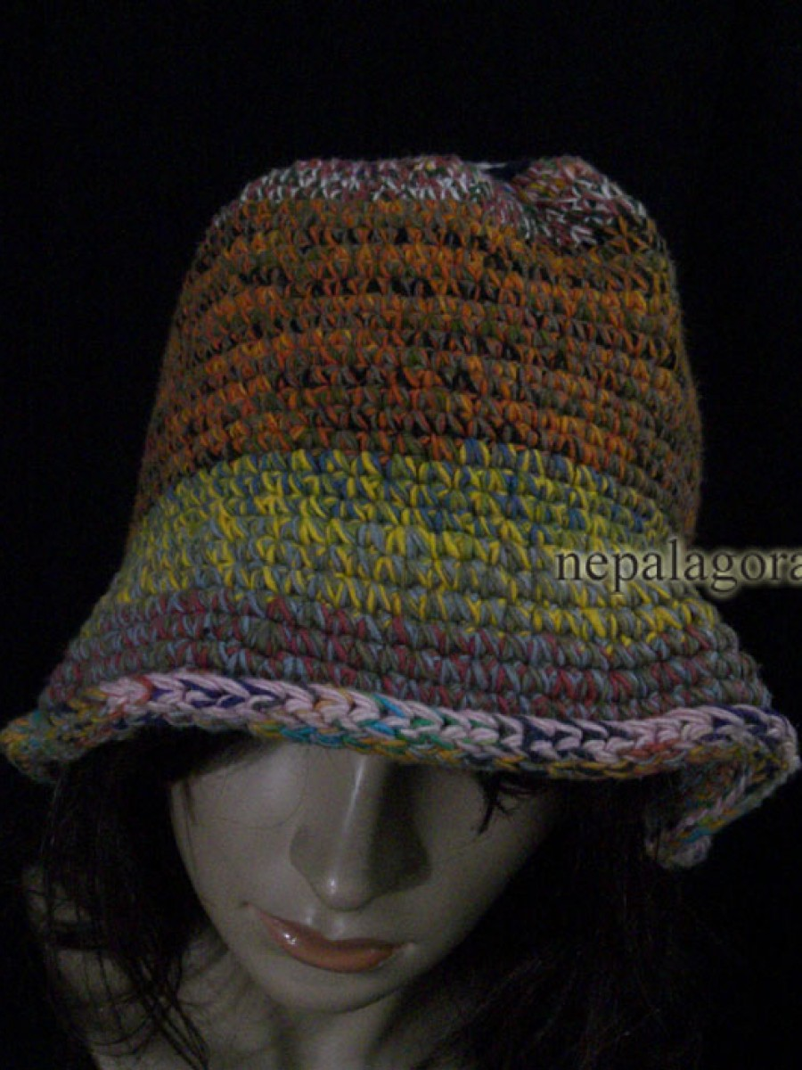 Hand Knitted Multi colored Bucket Hat Cap - C707