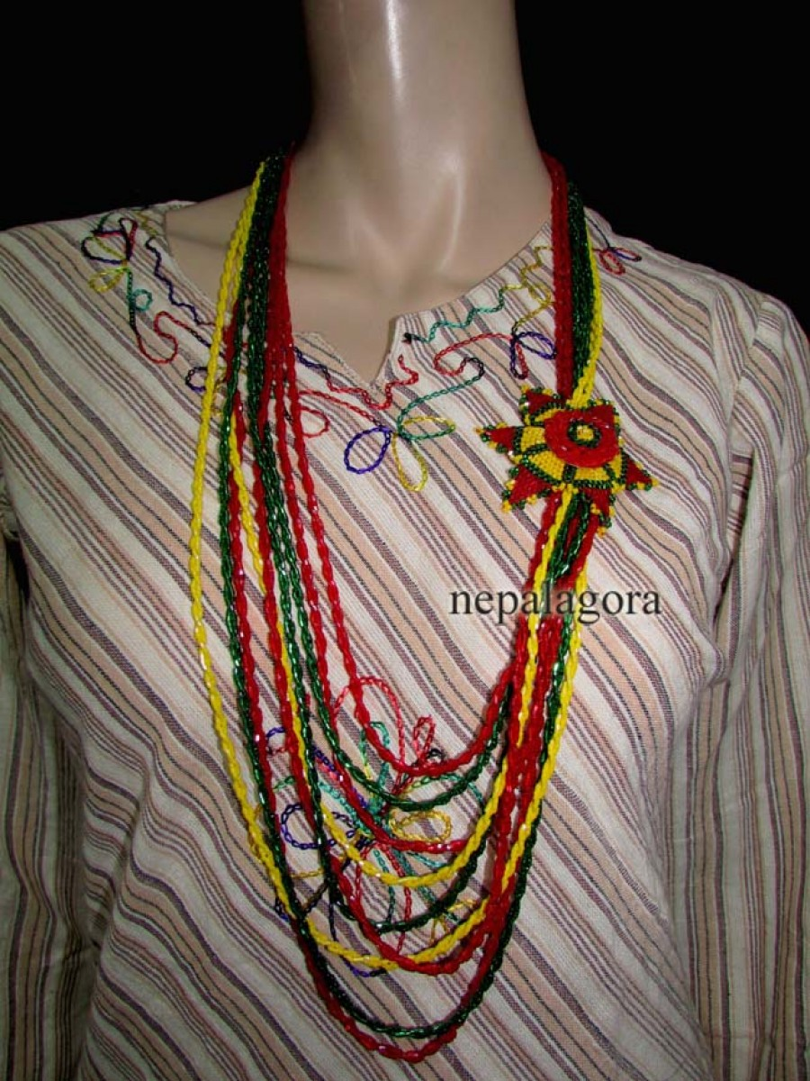 Hand work Pote mala Multi strand glass beads women Necklace jewelry Nepal - Nnp112