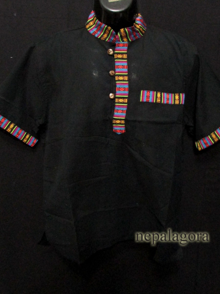 Handloom Cotton Black Shirt - Sh986 XXL