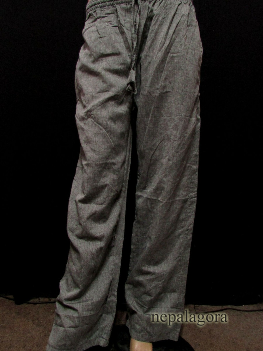 Handloom Cotton Gray Unisex Trouser - Tr496 L