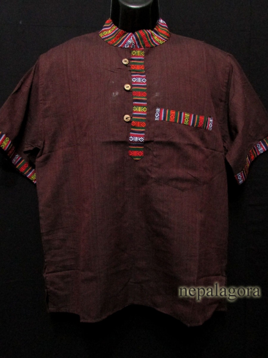 Handloom Cotton Men Brown Shirt - Sh992 L