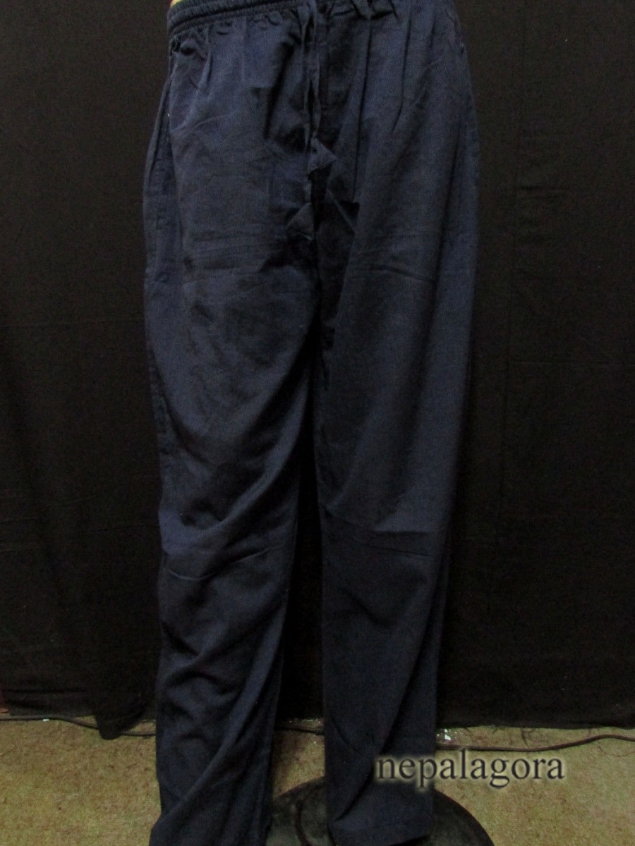 Handloom Cotton Navy Blue Unisex Trouser - Tr495 XL