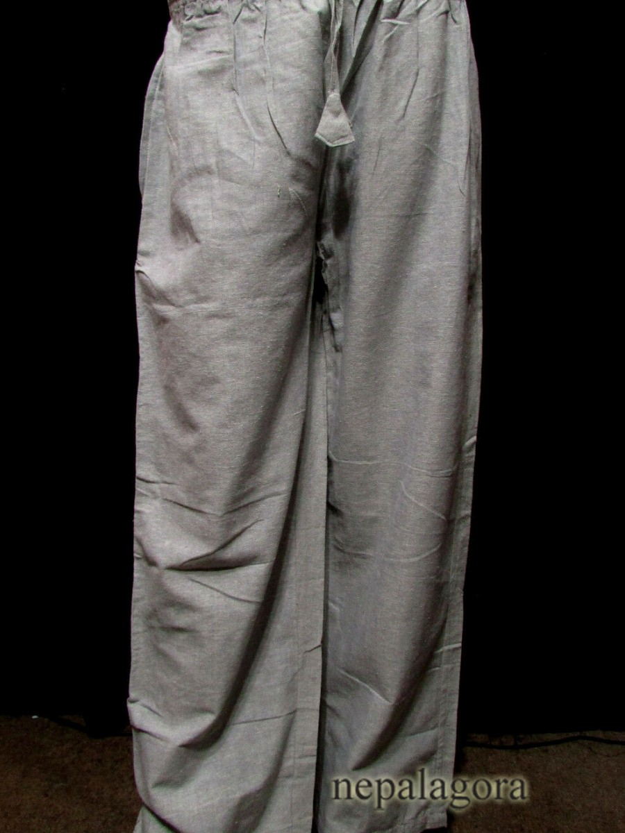 Handloom COTTON Plain Gray summer elastic Unisex PANT Trouser - Tr487 XL
