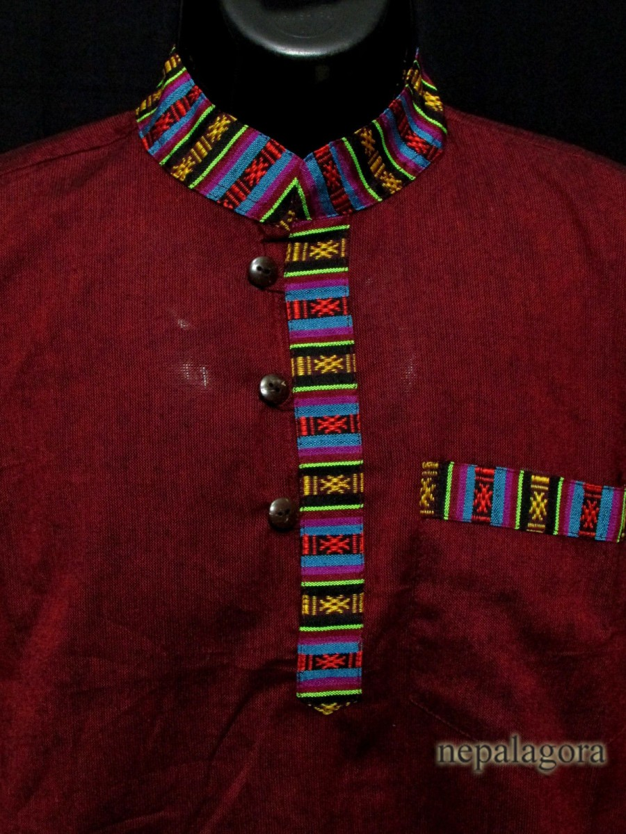 Handloom Cotton short sleeve Grandad Hippy Men Maroon Kurta Shirt Nepal -Sh991 XL