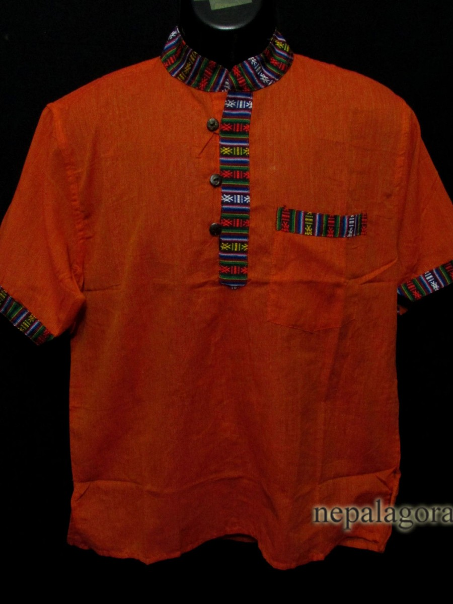 Handloom Cotton Yoga Men Orange Shirt - Sh993 XL