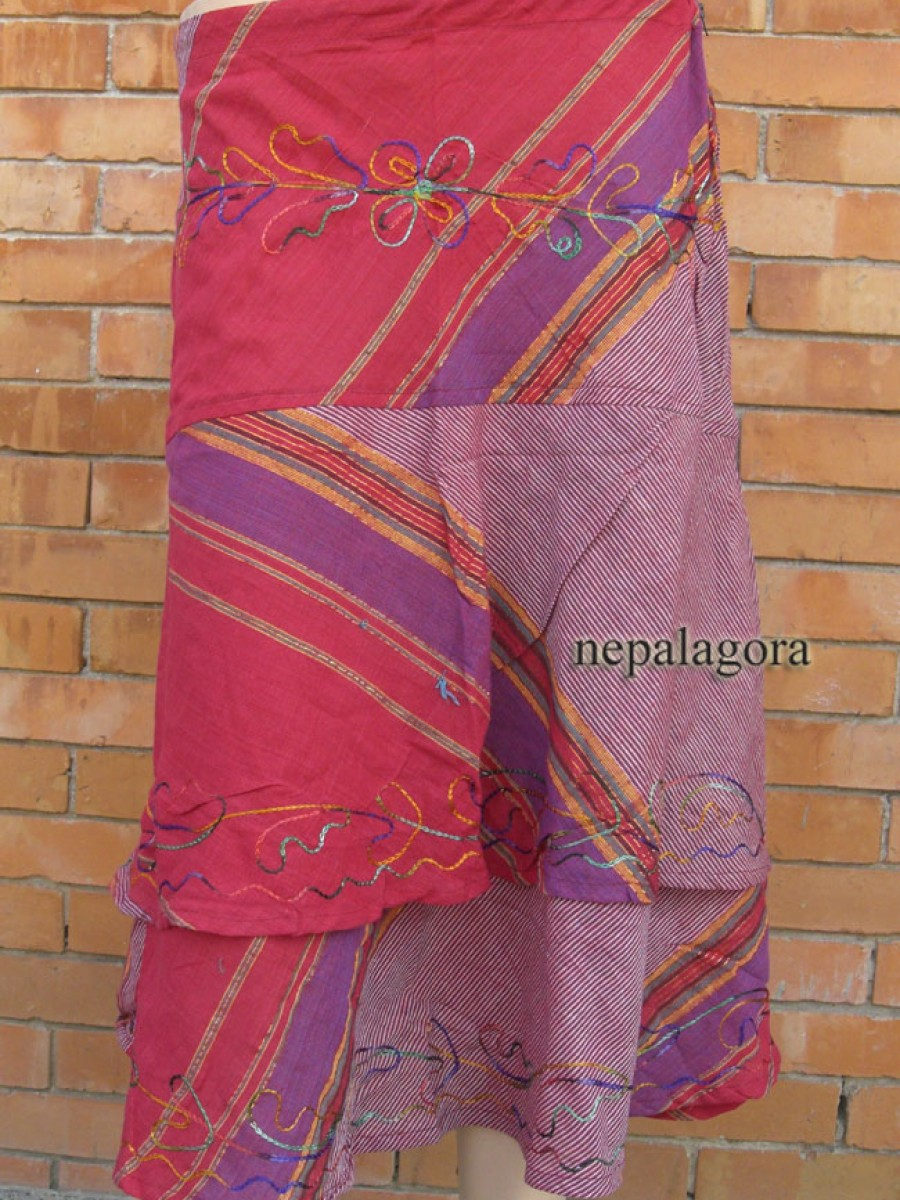 Handloom embroider cotton SKIRT Nepal - Sk138