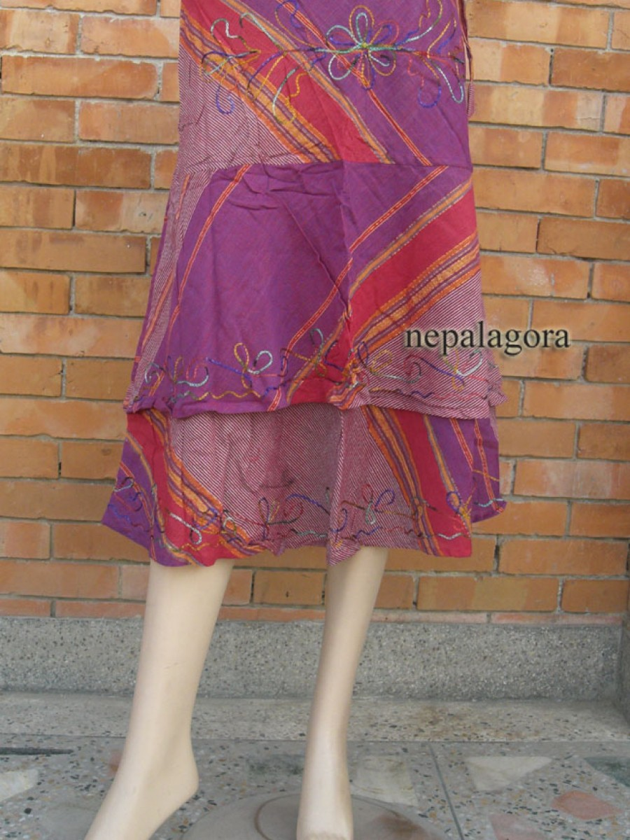 Handloom embroidered cotton SKIRT - Sk142