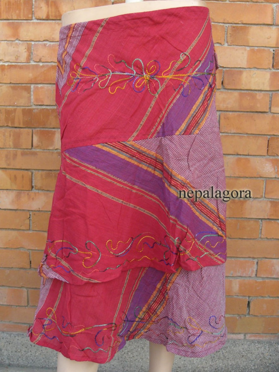 Handloom Embroidered Gypsy flare Hippie Summer Fashion cotton SKIRT Nepal - Sk140