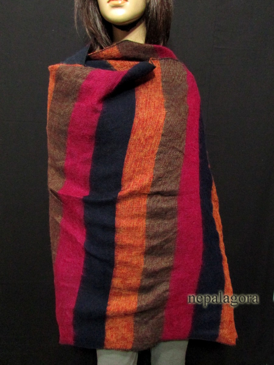 Handloom yak wool Reversible shawl - Sw117