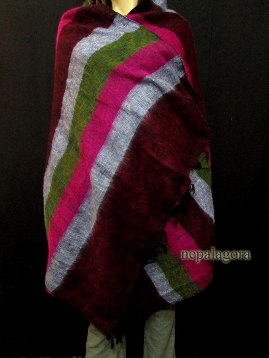 Handloom yak wool stole Multicolor shawl - Sw108